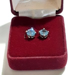 Sterling silver blue stone studs